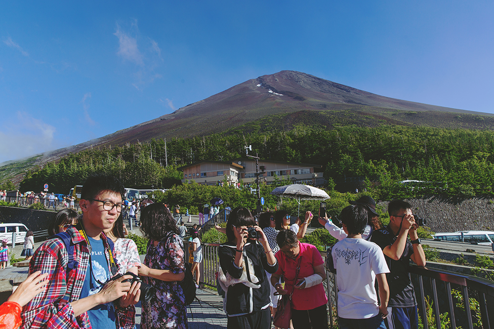 Japan Fuji blue sky tourists