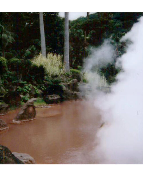 Polaroid of red hot spring in Beppu, Japan