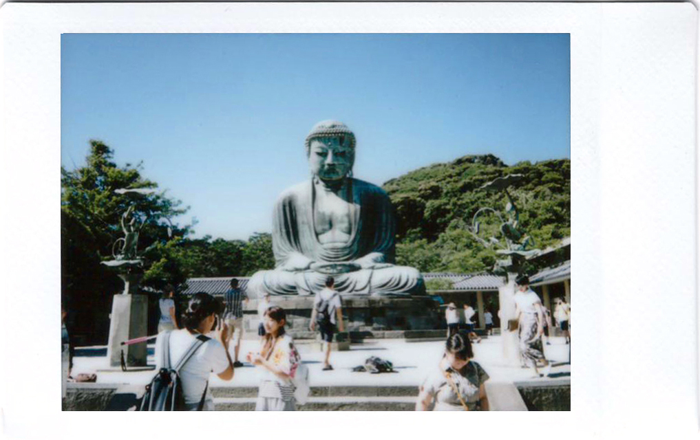 Polaroid of the big buddha statue at Kamakura; Japan