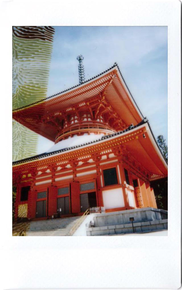 Polaroid of a red temple in Koya-san; Japan