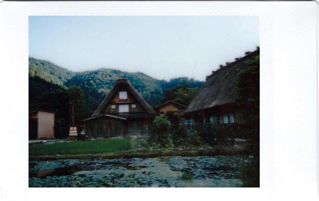 Polaroid of Shirakawago at sunset; Japan