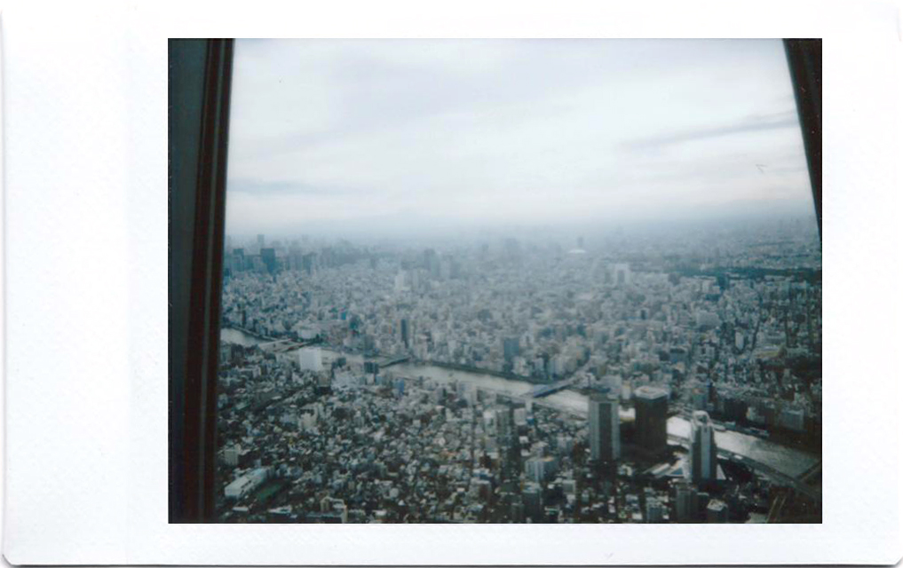 Polaroid of the view from the Tokyo Skytree; Japan