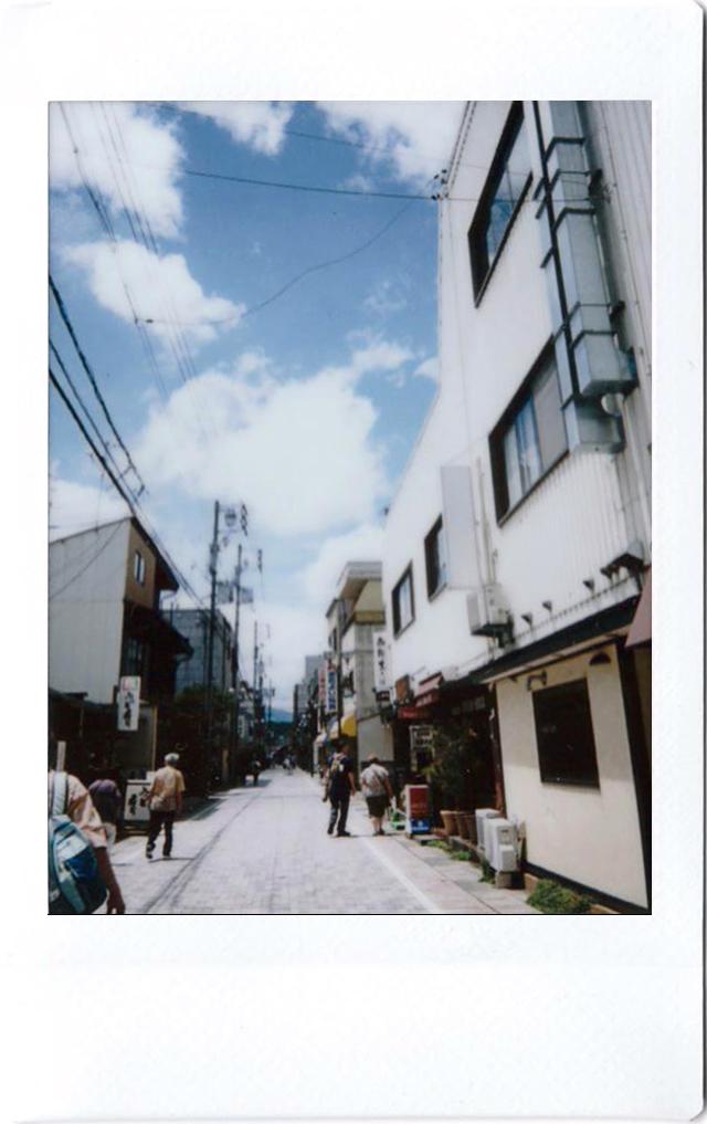 Polaroid of a street in Japan