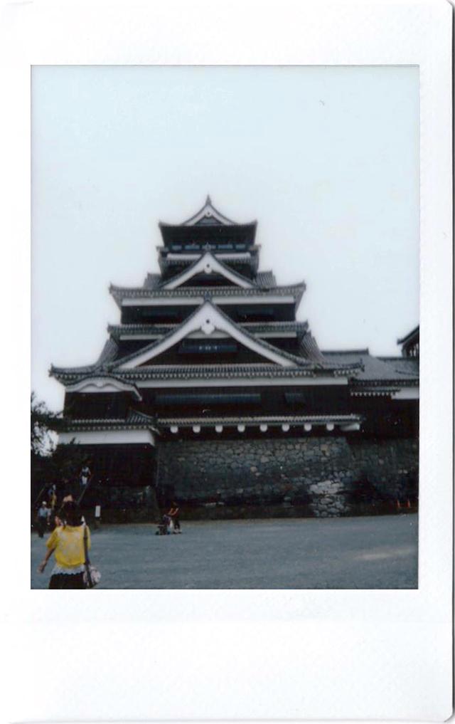 Polaroid of the castle in Kumamoto; Japan