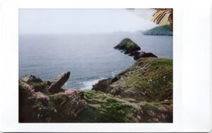 Fujifilm Instax Polaroid of Cliffs and ocean at Slea Head Drive; Dingle Peninsula; West Atlantic Way; Ireland