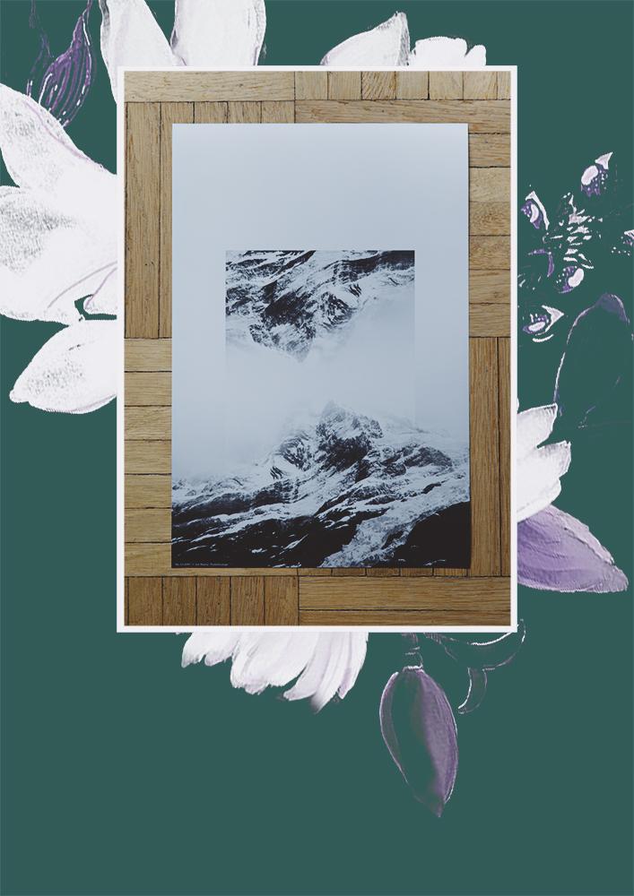 Posterlounge; Berge schwarz/weiss